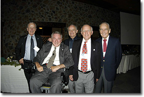 From left: Bud Blakey, Board of Directors Founding Member; Irv Naylor, Founder and Owner; Sepp Gmuender, Former GM; Hans Geier, Former GM; and Myron Scharko, an original member of the Ski Roundtop Ski Patrol.