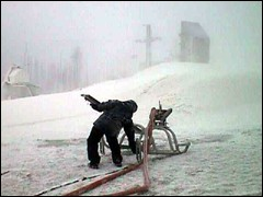 Snowshoe Mountain Resort is currently covered with a manmade blizzard.