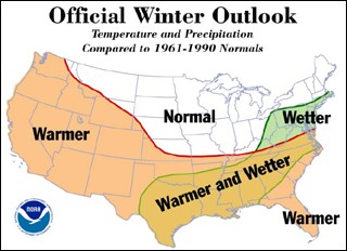 The National  Weather Service is predicting a wetter winter for the Mid-Atlantic. Combined with colder temperatures, this may translate to a snowier  season for area resorts.