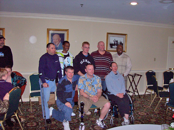 Back row: Manny Pina, Christian Ivory, Clay Henson, John Keith, and Hilbert Caesar.  Front row: Karl Dorman, Mike Dinkel, and Mariah Kochavi.